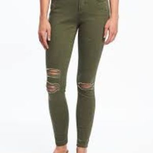 Old Navy The Rockstar Distressed Green Skinny Jean